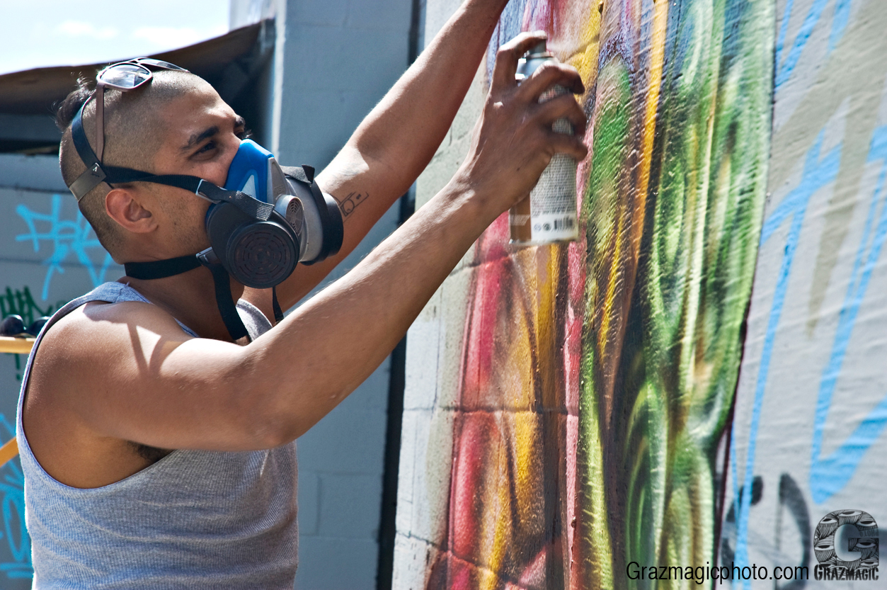 Graffiti Artist With Protective Mask