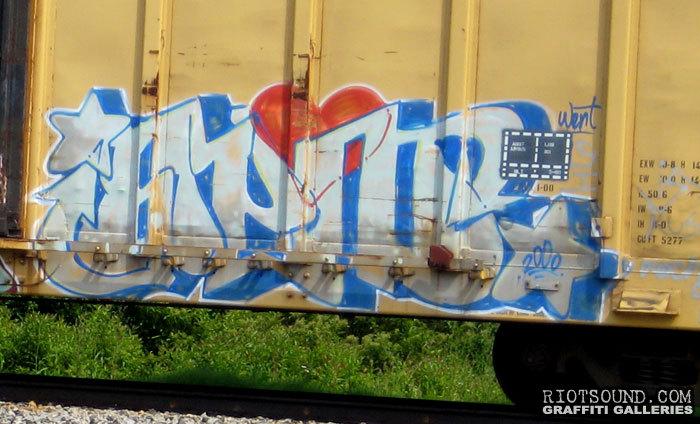 Graffiti On Freight Train