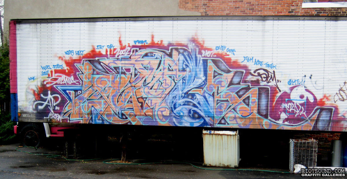 Graffiti Piece On Truck Trailer
